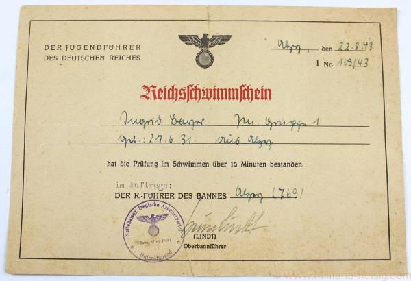 Hitlerjugend (HJ) Schwimmschein, HJ Bann 769 Alzey