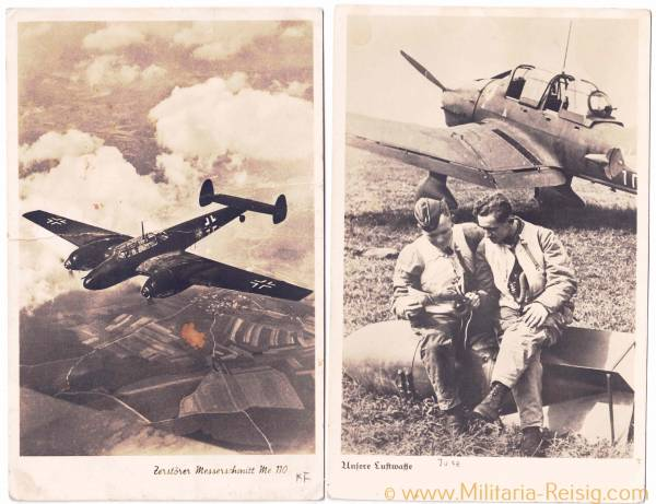2 Ansichtskarten von Kampfflugzeuge (Messerschmitt Me 110)
