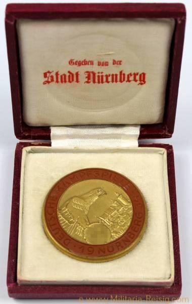 """Porzellan Medaille """"Deutsche Kampfspiele Nürnberg 1934"""", 3. Reich"""