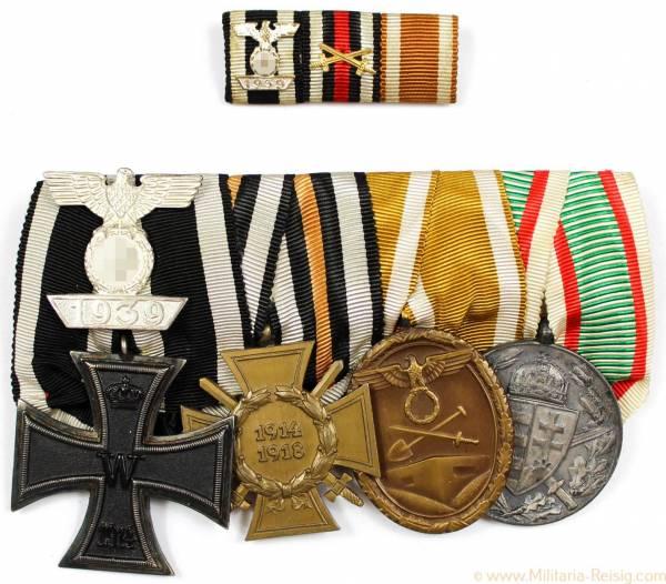 Ordensspange mit 5 Auszeichnungen, 1. Weltkrieg, 3. Reich