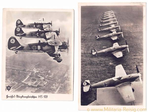 2 Ansichtskarten von Kampfflugzeuge (Me Bf 109 u. Henschel Hs 123)