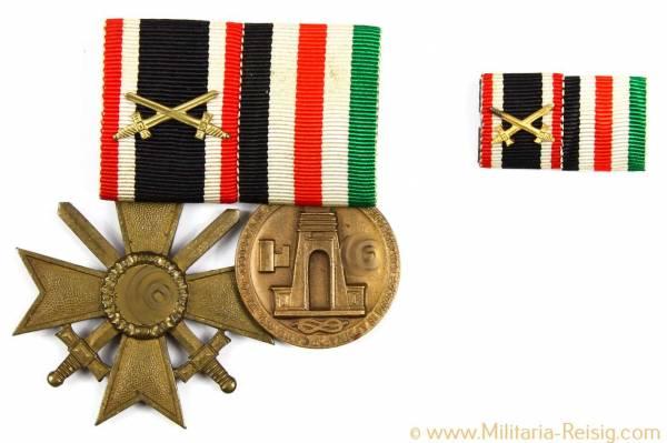 2er Ordenspange (Italienisch-deutsche Feldzugsmedaille für Afrika u. KVK 1939 m. Schwertern)