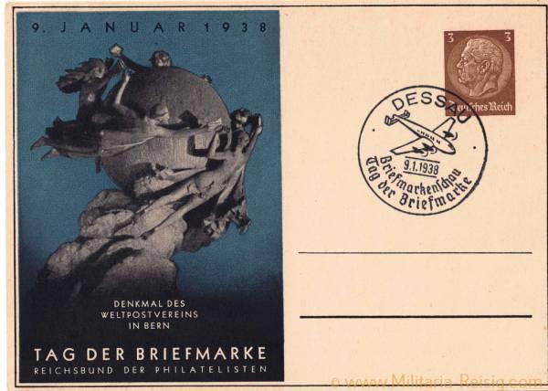 """Postkarte """"Tag der Briefmarke"""", 9 Januar 1938"""