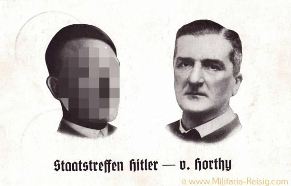 Postkarte, Staatstreffen Hitler - v. Horthy Ungarn
