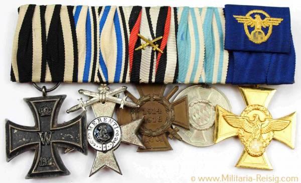 Ordensspange mit 5 Auszeichnungen, Kaiserreich, 1. Weltkrieg, 3. Reich