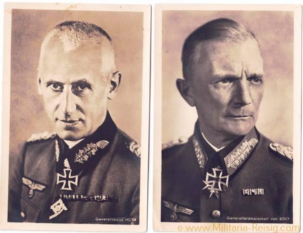 Portraitpostkarten v. 2 Ritterkreuzträgern (Generalfeldmarschall F. von Bock u. Generaloberst H. Hot