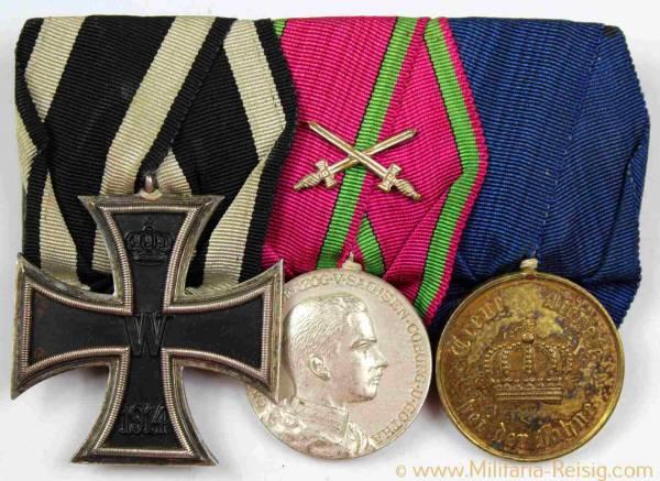 Ordensspange mit 3 Auszeichnungen, Kaiserreich, 1. Weltkrieg