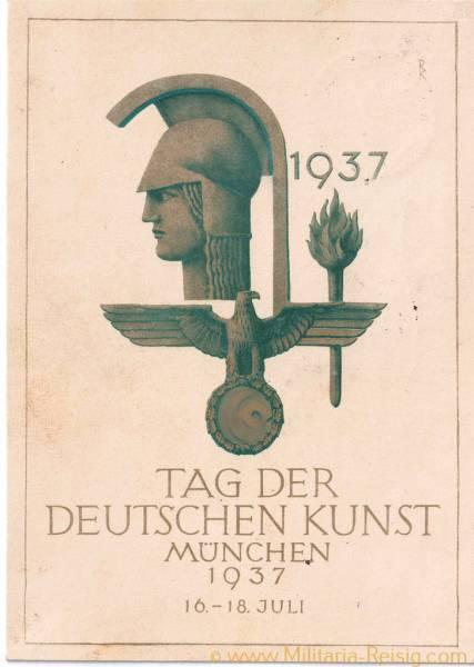 """Postkarte, """"Tag der deutschen Kunst, München 1937"""""""
