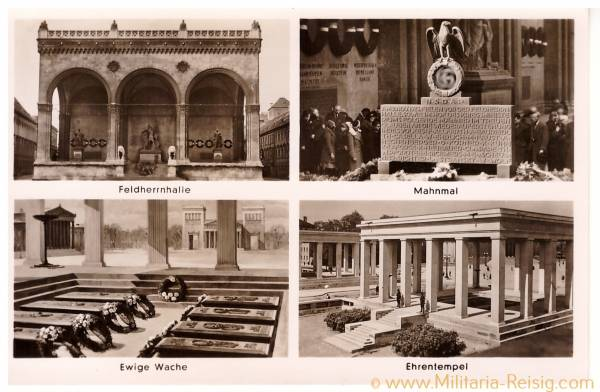 Postkarte Feldherrnhalle, Mahnmal, Ewige Wache, Ehrentempel, 3. Reich