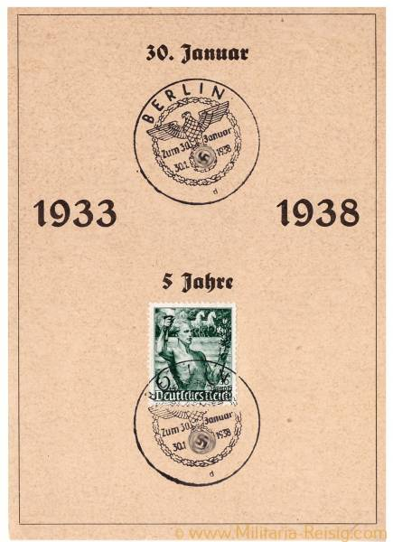 Postkarte, 1933 zum 30. Januar 1938, 3. Reich