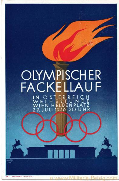 Postkarte, In Österreich Weihestunde, Olympischer Fackellauf 1936