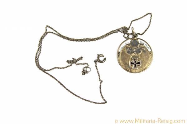 "Patriotische Medaille ""Gruss aus dem Felde"", EK-Motiv 1914, 800er Silber"