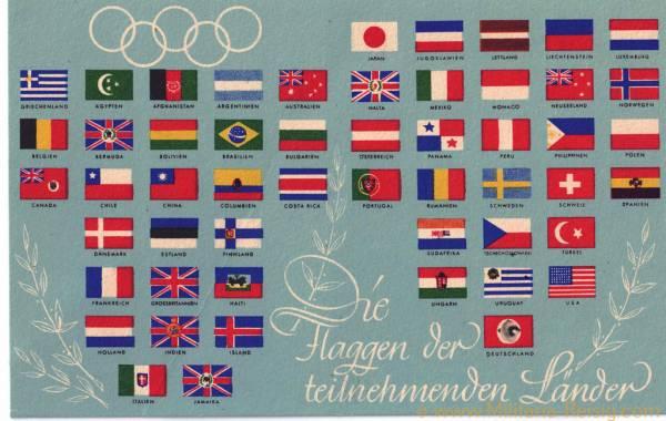 "Postkarte ""Flaggen der teilnehmenden Länder"" Olympia Berlin 1936"
