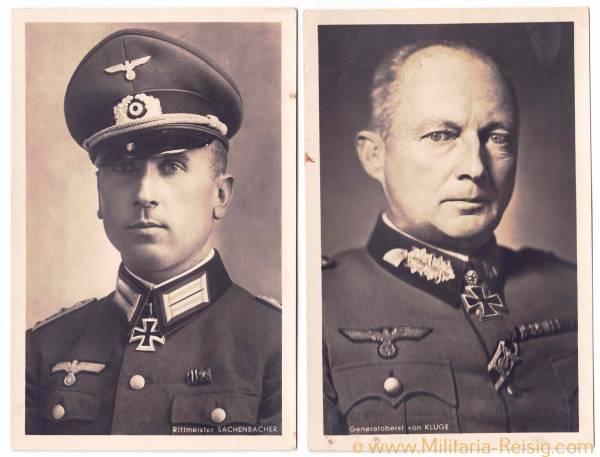 Portraitpostkarten v. 2 Ritterkreuzträgern (Generaloberst G. von Kluge u. R. Sachenbacher) Luftwaffe