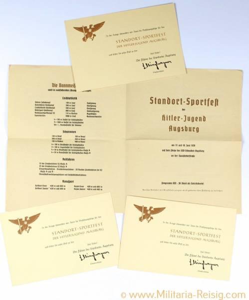 Standort-Sportfest der Hitlerjugend in Augsburg Programm + 3 Einladungskarten