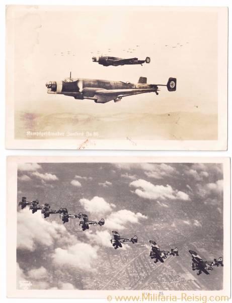 2 Ansichtskarten von Kampfflugzeuge (Junkers Ju 88 u. Hs 123)