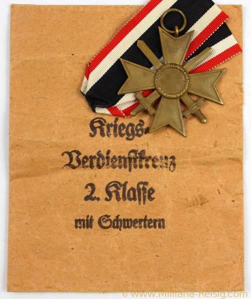 Kriegsverdienstkreuz mit Schwertern 2.Klasse 1939 + Verleihungstüte