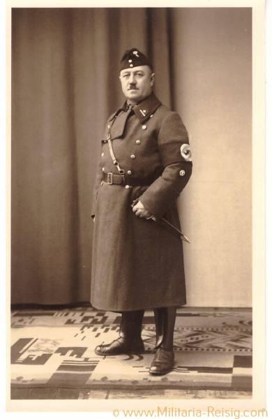 Foto Postkarte eines Oberscharführers, NSKK-Mann in Uniform, NSKK Dienstdolch