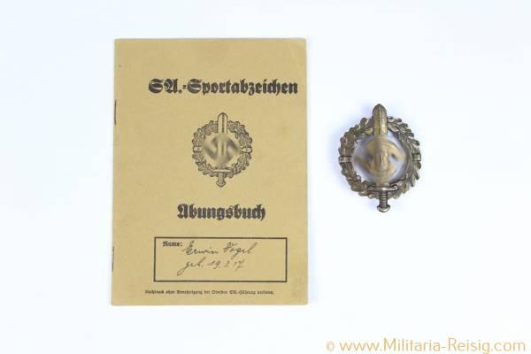 SA-Sportabzeichen in Bronze, Herst. Berg & Nolte Lüdenscheid, Übungsbuch