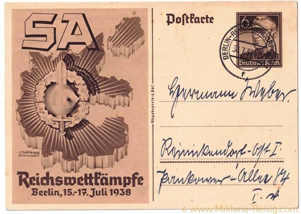 "Postkarte ""SA - Reichswettkämpfe in Berlin 1938"""