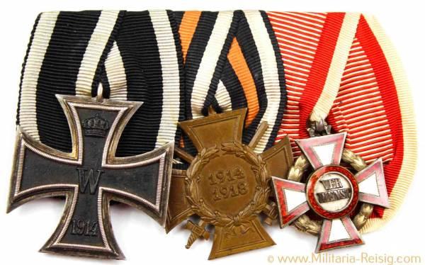 Ordensspange mit 3 Auszeichnungen, 1. Weltkrieg
