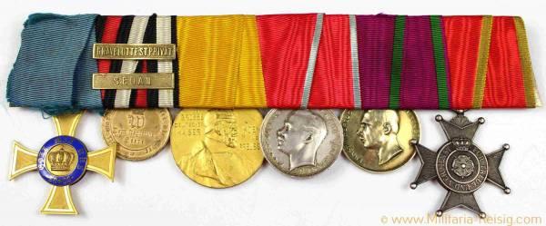 Ordensspange mit 4 Auszeichnungen mit 2 Gefechtsspangen, Deutsches Kaiserreich