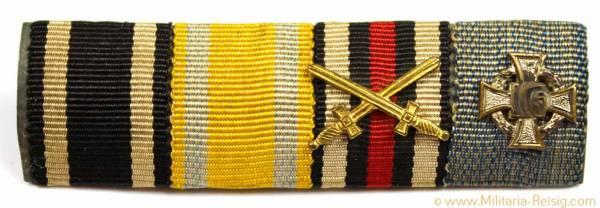 4er Feldspange - (Eisernes Kreuz 1914, Schutzwall, Ehrenkreuz, Treudienst)
