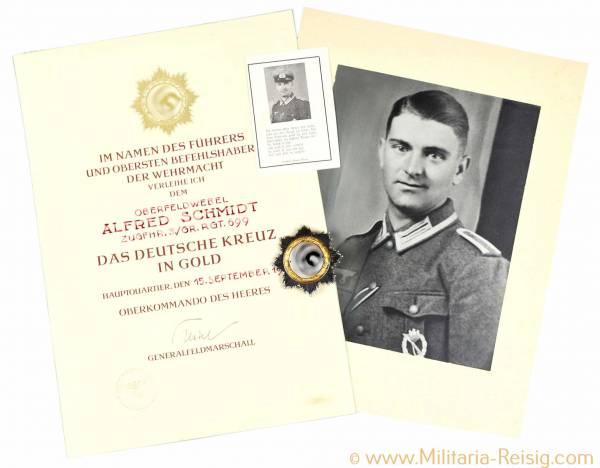 Deutsches Kreuz in Gold mit Verleihungsurkunde, Herst. 20 - Fa. Zimmermann, Pforzheim