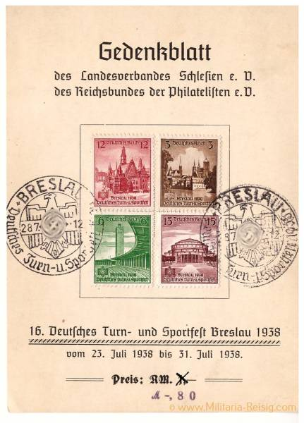 Postkarte Wrocław Breslau Schlesien, 16. Deutsches Turn- und Sportfest 1938, Gedenkblatt, 3. Reich