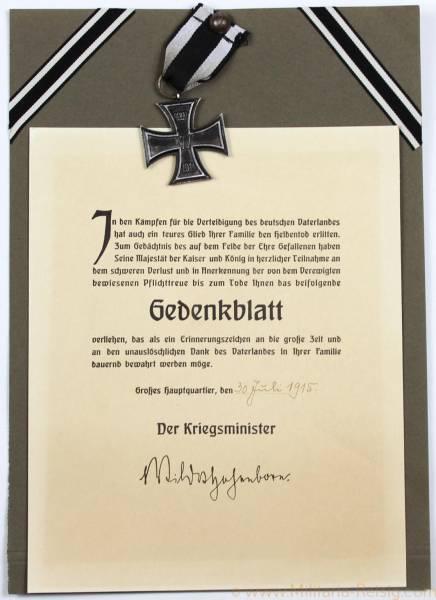 Eisernes Kreuz 2. Klasse 1914 mit Gedenkblatt