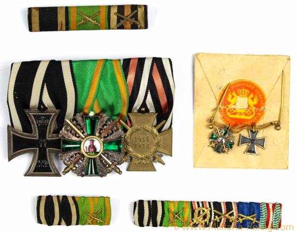 Ordensspange mit 3 Auszeichnungen, Frackkette und 3 Feldspangen