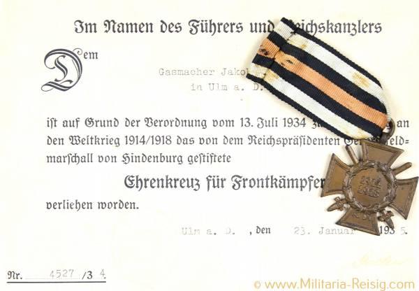 Ehrenkreuz für Frontkämpfer und Verleihungsurkunde