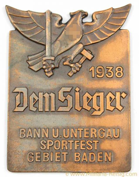 """HJ Siegerplakette """"Dem Sieger Bann Und Untergau Sportfest Gebiet Baden - 1938"""""""