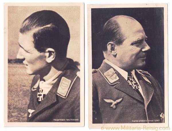 Portraitpostkarten v. 2 Ritterkreuzträgern (Hauptmann W. Balthasar und Generaloberst E. Udet)