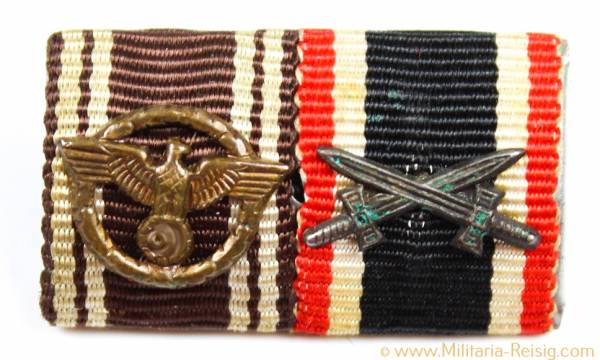 2er Feldspange, NSDAP Dienstauszeichnung 1. Stufe, Kriegsverdienstkreuz 2.Klasse 1939
