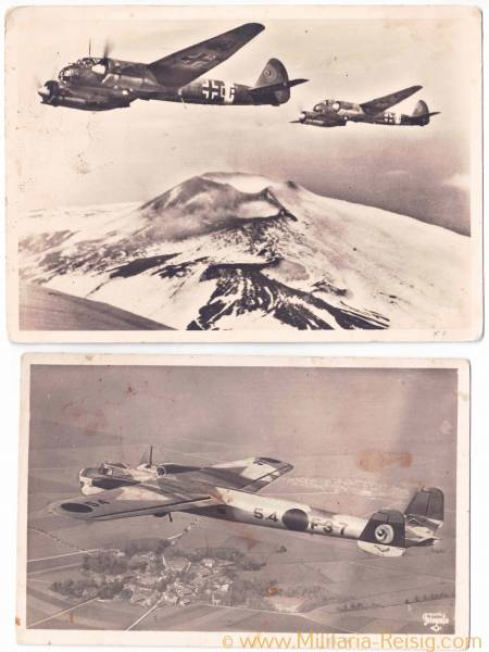 2 Ansichtskarten von Kampfflugzeuge (Dornier DO - 17 u. Junkers Ju 88)