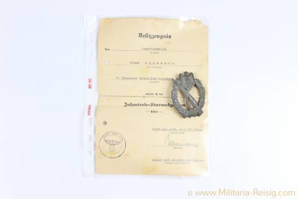 Hohlgeprägtes Infanterie-Sturmabzeichen in Silber, Herst. Frank & Reif Stuttgart