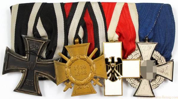 Ordensspange mit 4 Auszeichnungen, 1. Weltkrieg, 3. Reich