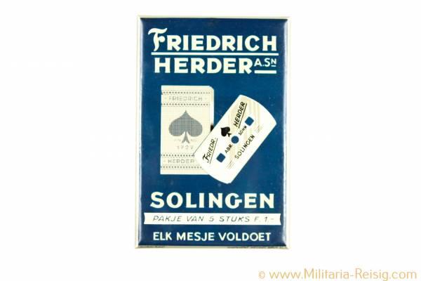 Werbeschild von F. Albrecht, Solingen, Celloglas-Plakat
