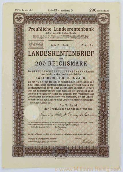 Landesrentenbrief über 200 Reichsmark, Preußische Landesrentenbank