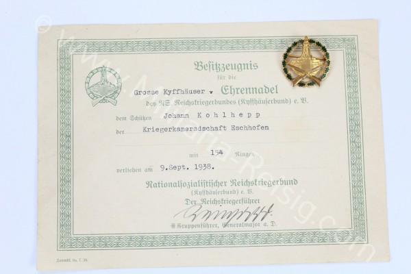 Deutscher Reichskriegerbund Kyffhäuser (DRKB) - Große Ehrennadel mit Urkunde