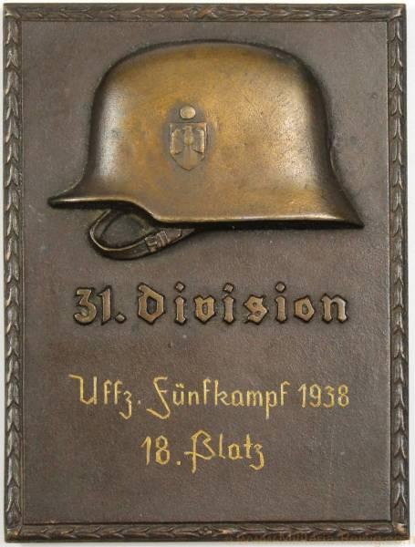 Siegerplakette im Fünfkampf in Braunschweig 1938 - 31. Division
