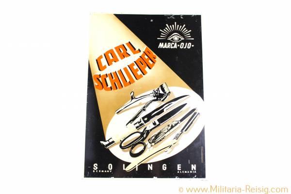 Werbeschild von Carl Schlieper, Solingen - Werbeglas Düsseldorf, selten