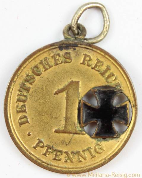 1 Pfennig 1971-1918 Deutsches Reich Patriotischer Anhänger, Eisernes Kreuz