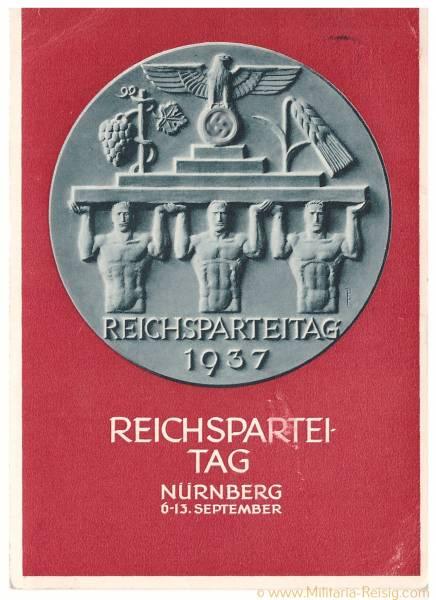 Postkarte Reichsparteitag Nürnberg 1937, 3. Reich