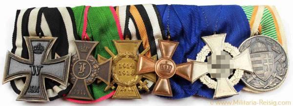 Ordensspange mit 6 Auszeichnungen, 1. Weltkrieg, 3. Reich