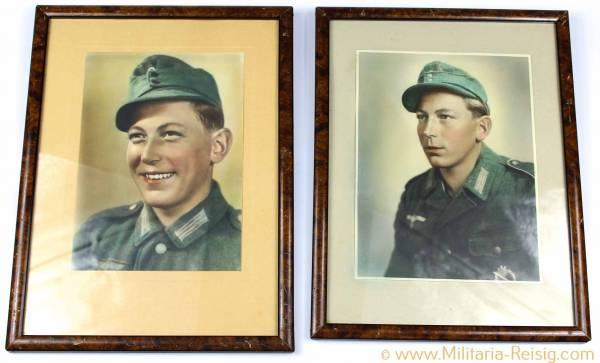 2 gerahmte Portraits eines Wehrmachtssoldaten, Heer