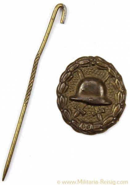 Verwundetenabzeichen in Schwarz 1918 Miniatur an Nadel