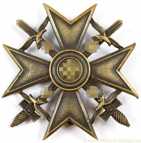 Spanienkreuz in Bronze mit Schwertern, Herst. Godet & Co., Berlin