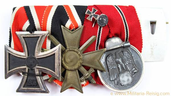 Ordensspange mit 3 Auszeichnungen, Eisernes Kreuz, Kriegsverdienstkreuz, Ostmedaille